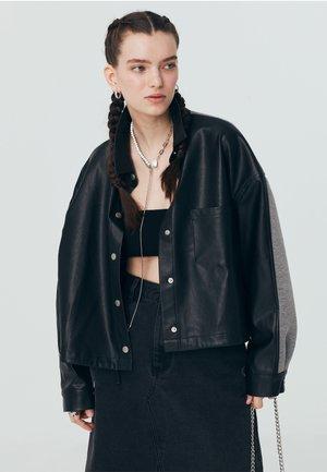 MIX - Faux leather jacket - black