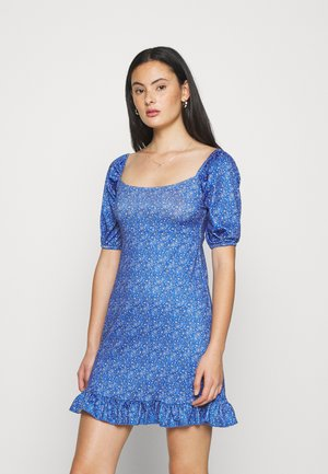 PAISLEY PUFF SLEEVE DRESS - Jerseykjole - blue