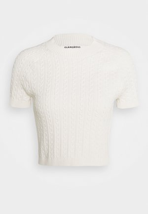 CROP SHORT SLEEVE JUMPER - Camiseta estampada - white