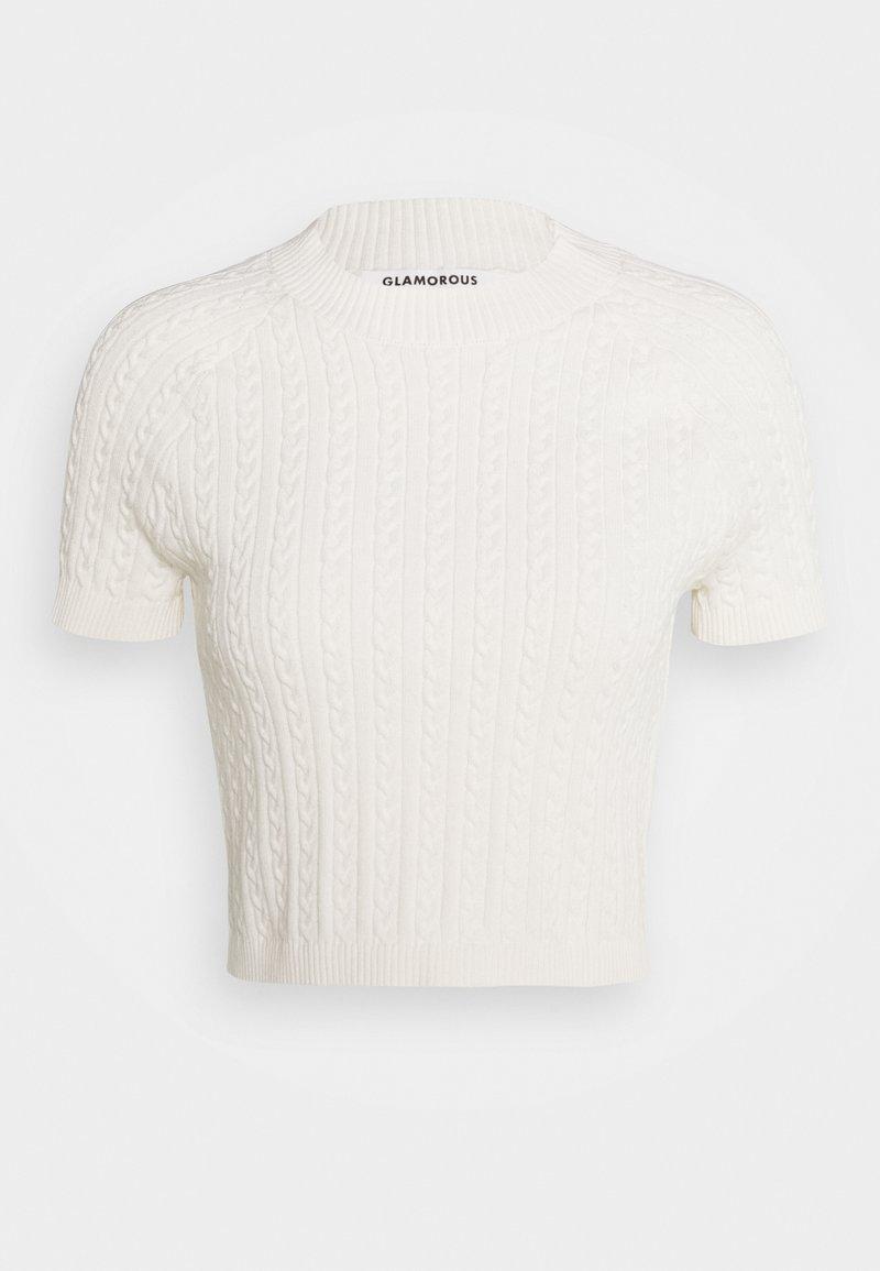 Glamorous - CROP SHORT SLEEVE JUMPER - T-shirt print - white
