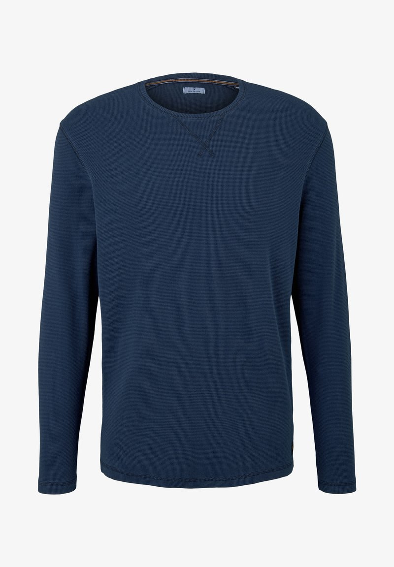 TOM TAILOR - MIT WAFFELSTRUKTUR - Long sleeved top - dark blue