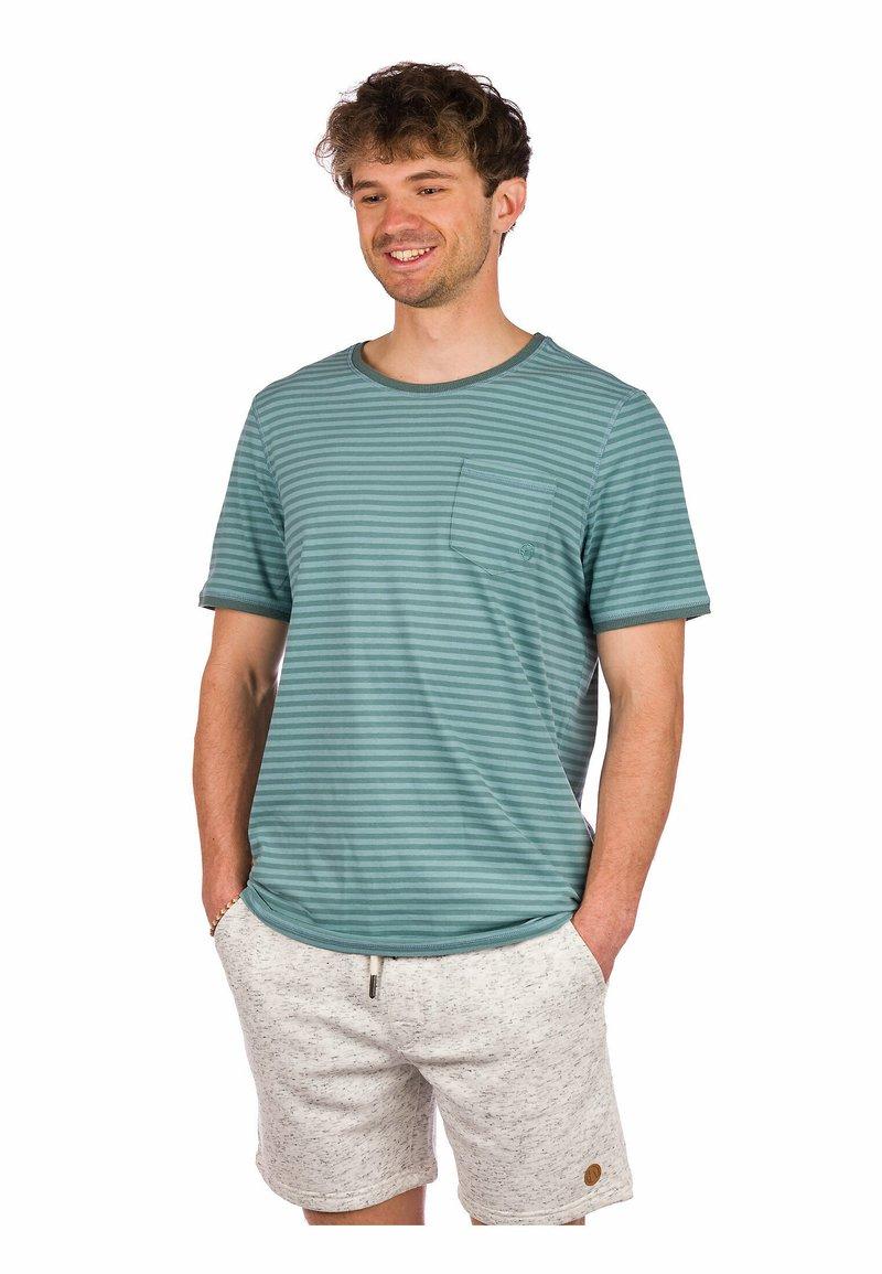 Kazane - ARVID  - Print T-shirt - silver pine/mineral blue
