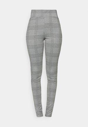 ONLMICA CHECK - Leggings - Trousers - cloud dancer/black/white