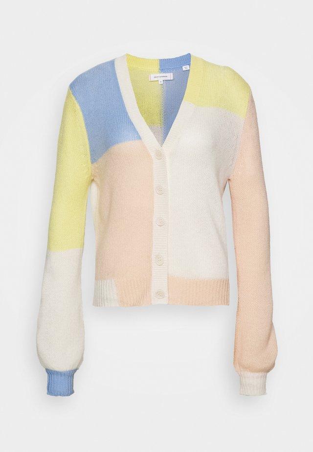 CARDIGAN - Neuletakki - beige/blue/limone