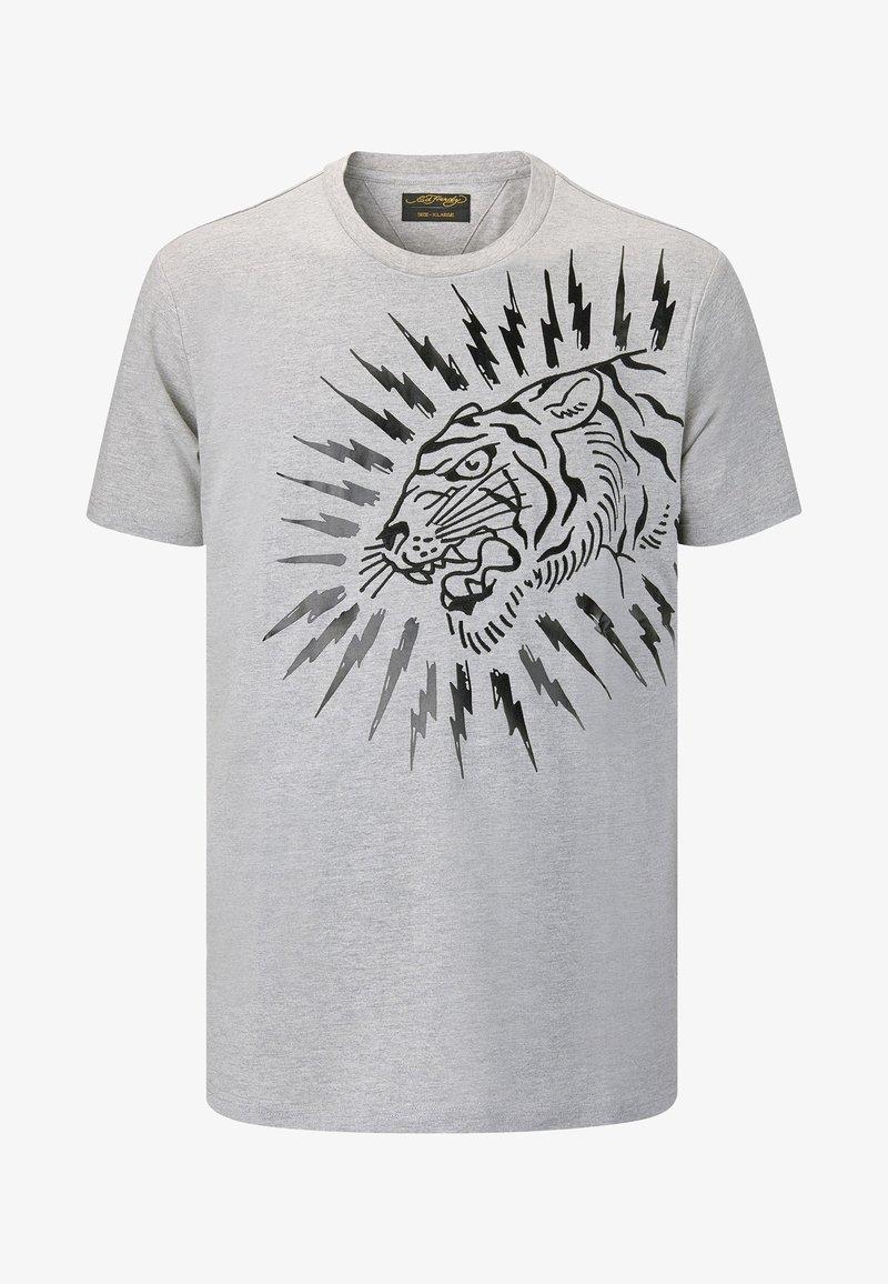 Ed Hardy - TIGER-LIGHTNING T-SHIRT - Print T-shirt - grey