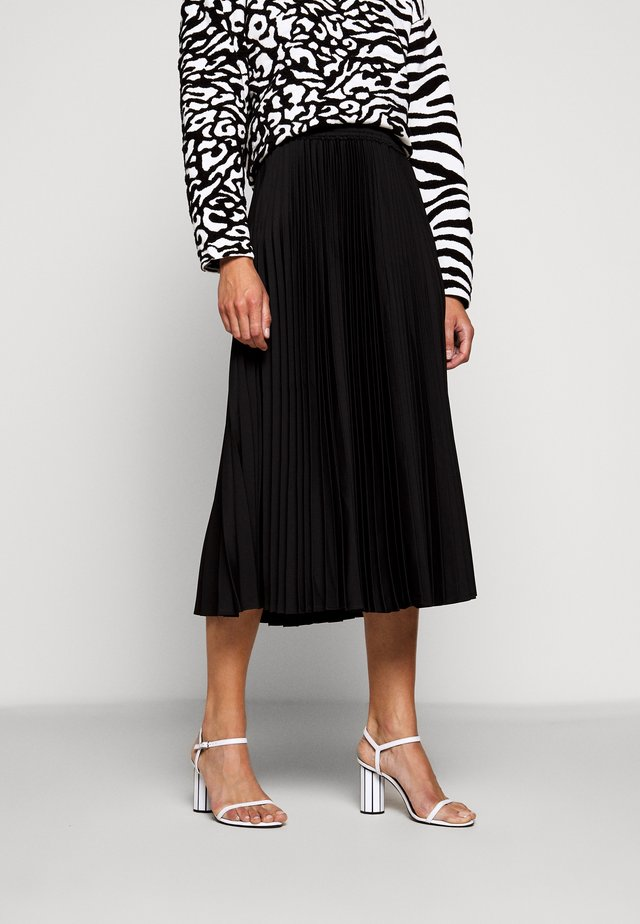 PRINTED PLEATED LONG SKIRT - Jupe trapèze - black
