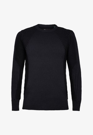 PLATED 3D BIKER ROUND LONG SLEEVE - Pullover - sartho blue/dk black