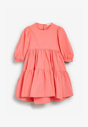 TIERED PUFF SLEEVE - Day dress - coral