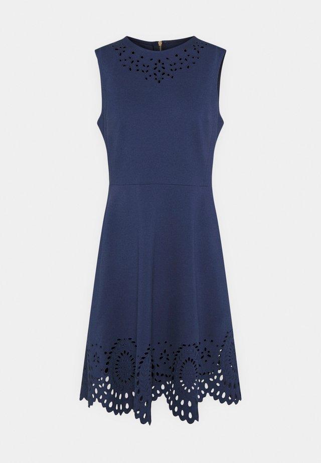 SLEEVELESS CUTWORK PONTE DRESS - Shift dress - squid ink
