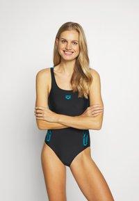 Arena - STAMP SWIM PRO BACK ONE PIECE - Swimsuit - black/turquoise - 1