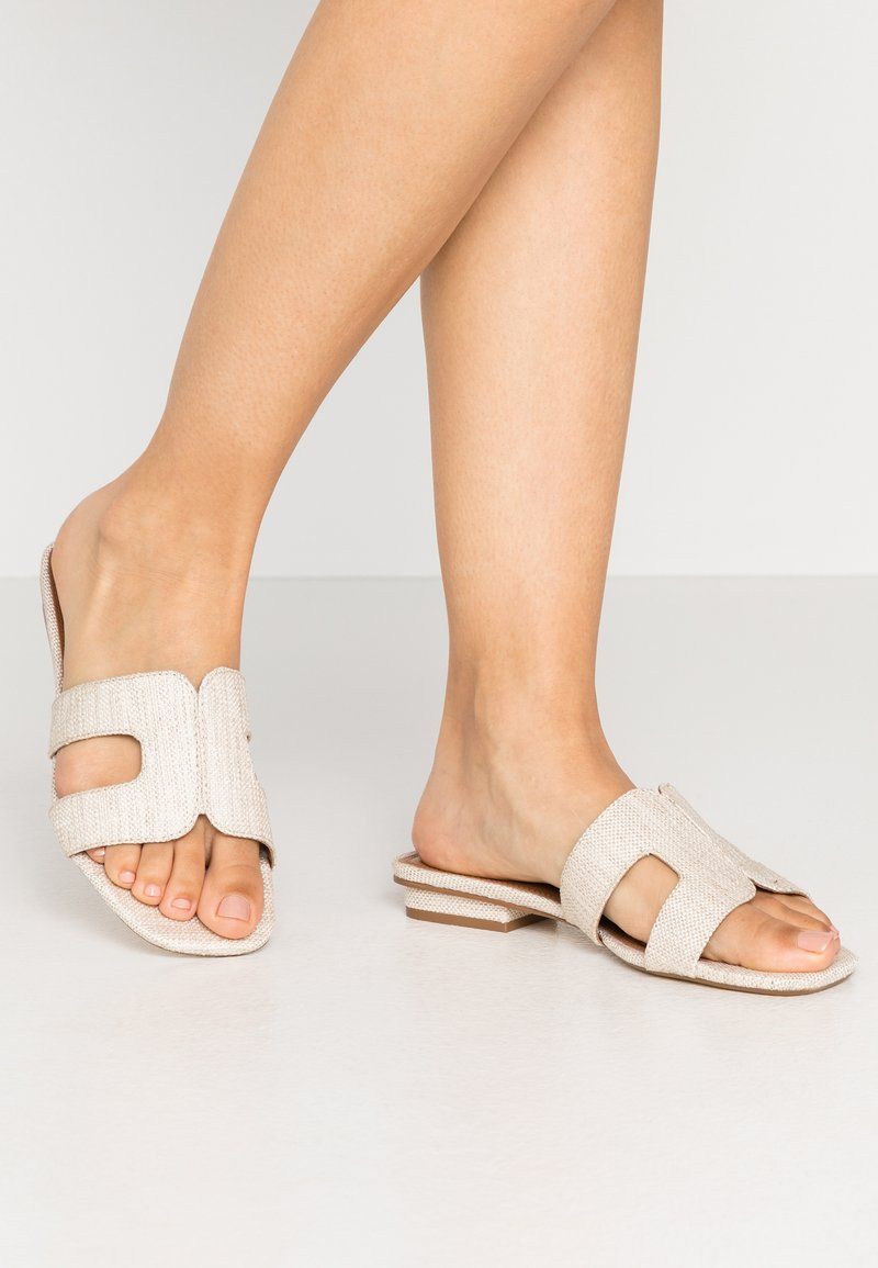 Dune London WIDE FIT - WIDE FIT LOUPE - Mules - natural