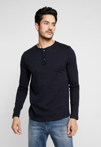 TOM TAILOR DENIM - STRUCTURED FABRIC - Long sleeved top - sky captain blue - 0