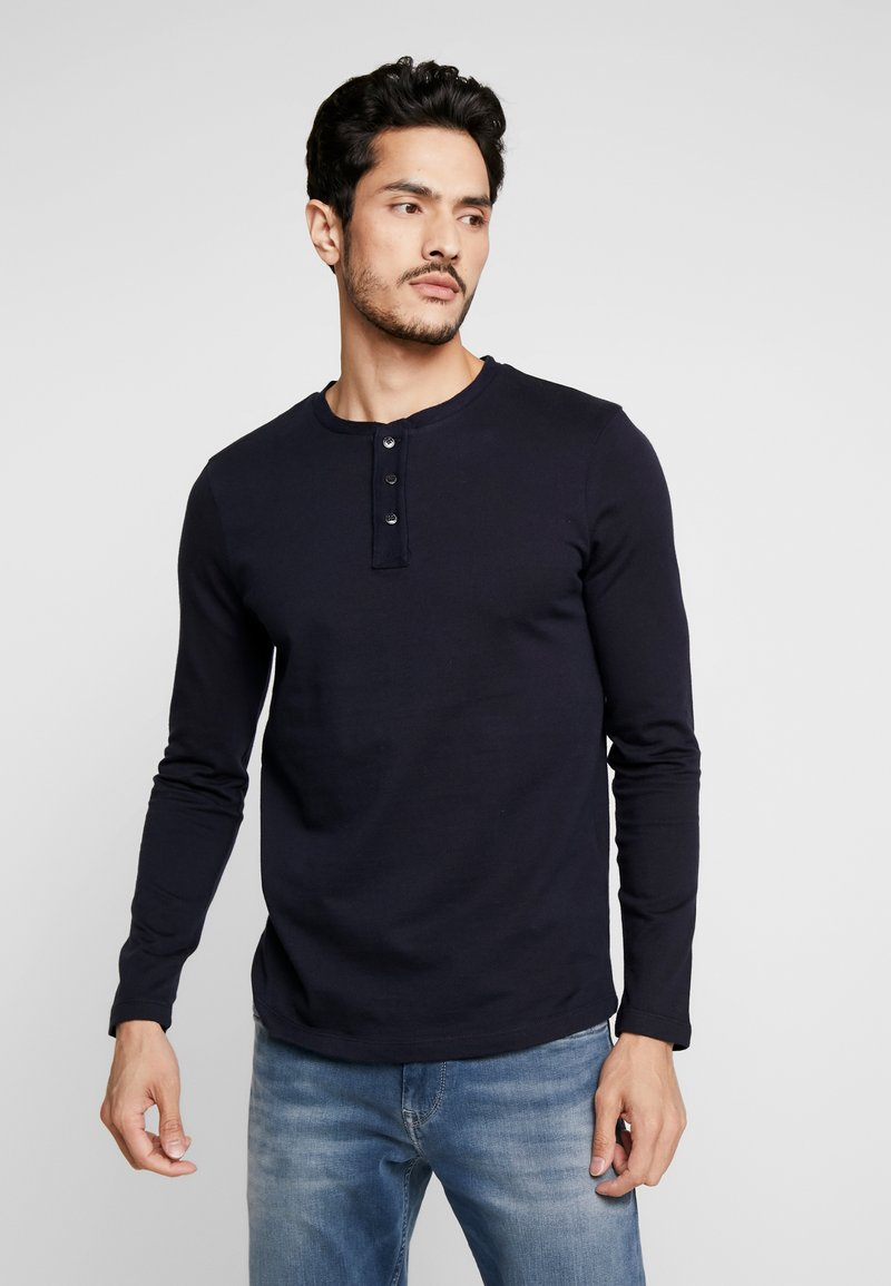 TOM TAILOR DENIM - STRUCTURED FABRIC - Long sleeved top - sky captain blue