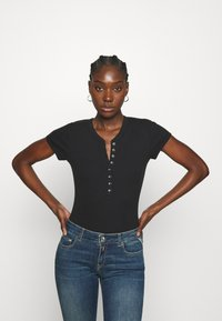 Abercrombie & Fitch - HENLEY  - Print T-shirt - black - 0