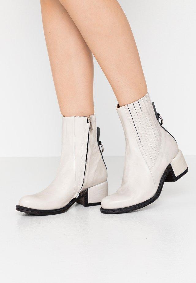 Cowboy/biker ankle boot - bianco/nero