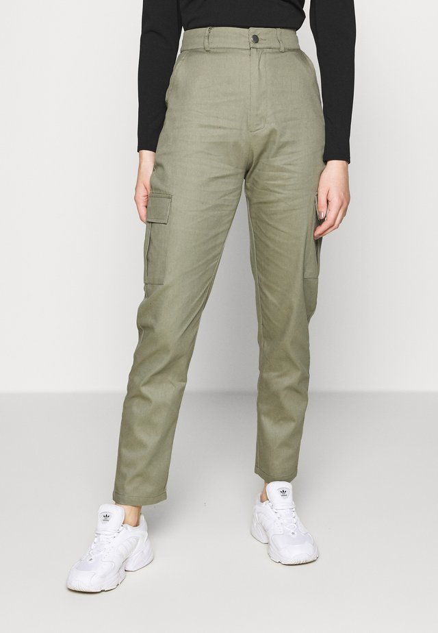 HIGH WAISTED TROUSERS WITH SIDE POCKETS - Kangashousut - khaki