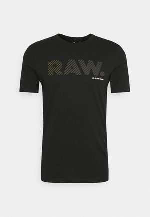 3D RAW LOGO SLIM  - Print T-shirt - black