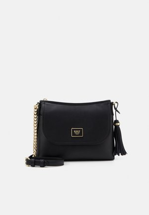 FLAP SHOULDER BAG - Axelremsväska - black/gold