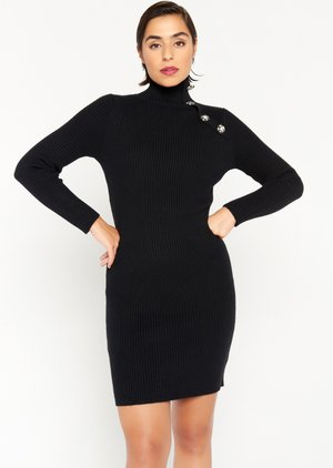 SWEATER WITH BUTTONS - Jumper dress - black
