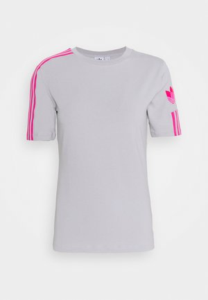 ADICOLOR SLIM SHORT SLEEVE TEE - T-shirt print - grey two/shock pink