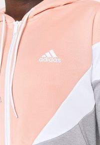 adidas Performance - COLORBLOCK - Tracksuit - ambient blush/medium grey heather/white - 6