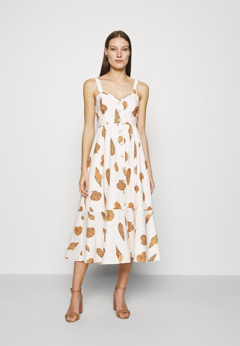 Farm Rio - LEOPARD SHELL MIDI DRESS - Shirt dress - multi