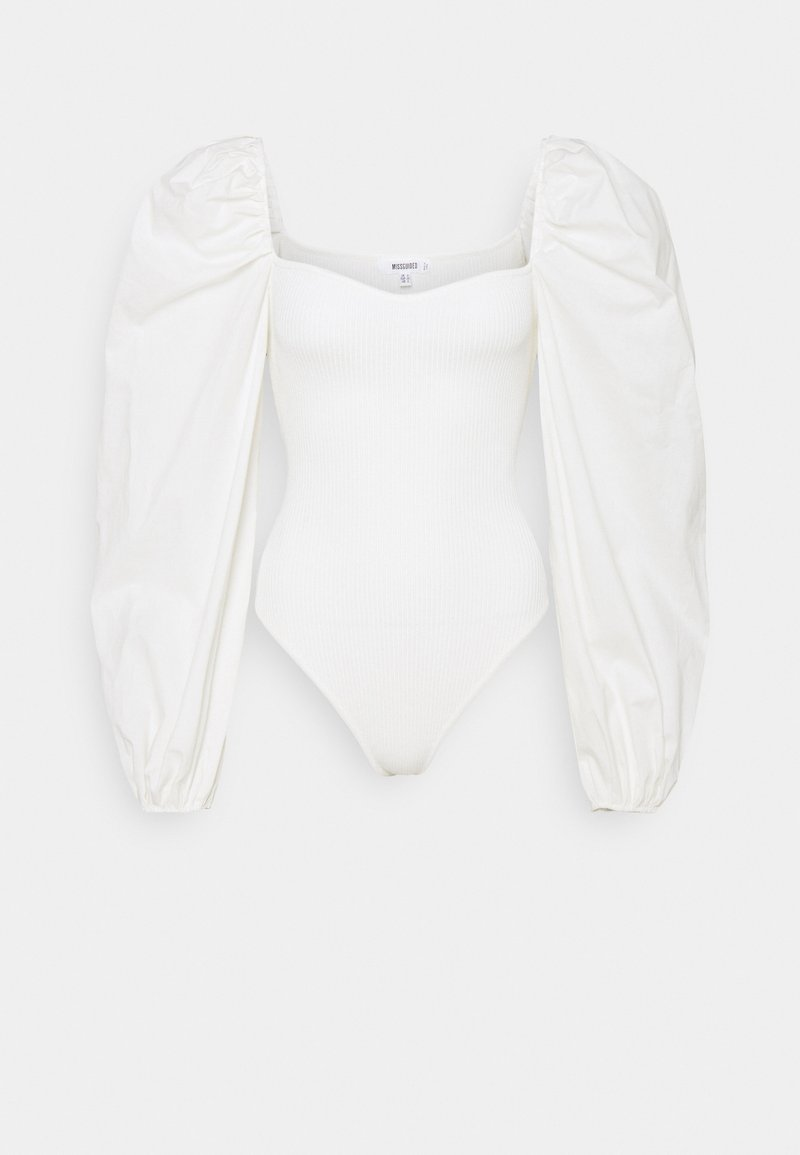 Missguided - BODYSUIT WITH PUFF SLEEVES - Jumper - white