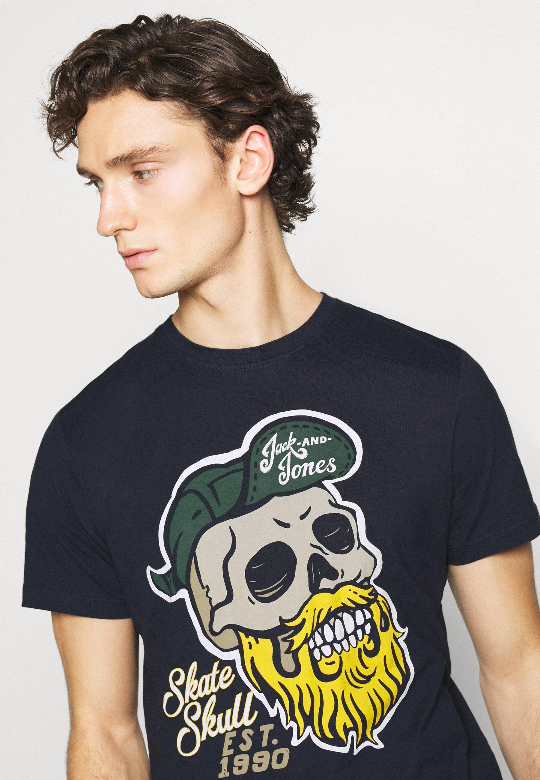 Jack & Jones JORSKULLING TEE CREW NECK - Print T-shirt - navy NIvBj