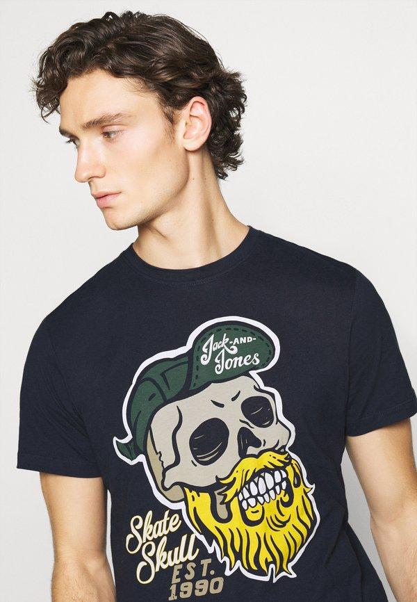 Jack & Jones JORSKULLING TEE CREW NECK - T-shirt z nadrukiem - navy/granatowy Odzież Męska EZXL