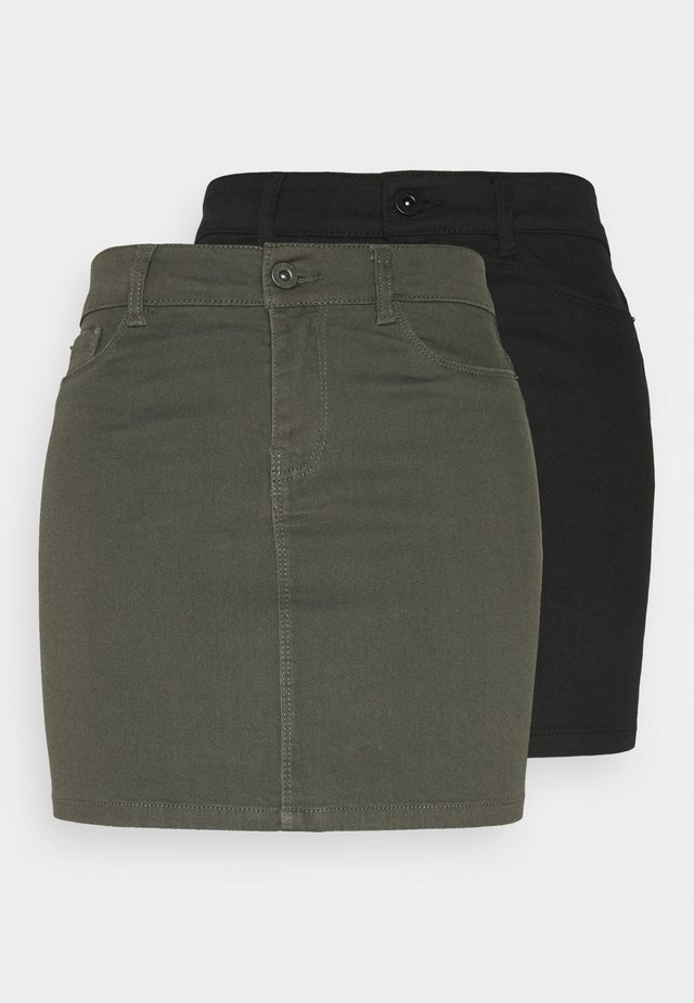 VMHOTSEVEN SKIRT 2 PACK - Pencil skirt - black/beluga
