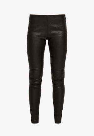 JILL - Leather trousers - black