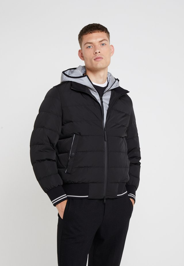 HYBRID PADDED BOMBER - Down jacket - black / silver