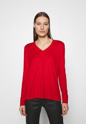V-NECK - Long sleeved top - molten lava red