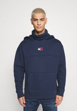 BADGE FUNNEL NECK HOODIE - Luvtröja - navy