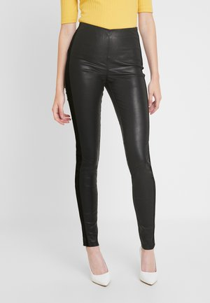 YASZEBA PANEL STRETCH PANT - Leather trousers - black