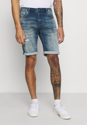 ORLANDO DAMAGED - Denim shorts - green cast