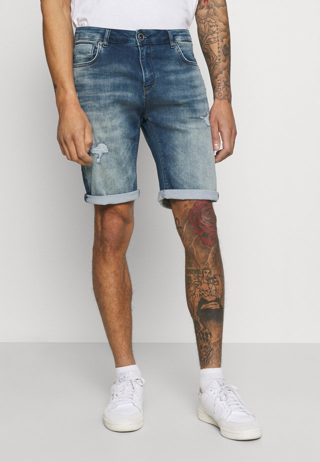 ORLANDO DAMAGED - Denim shorts - green cast