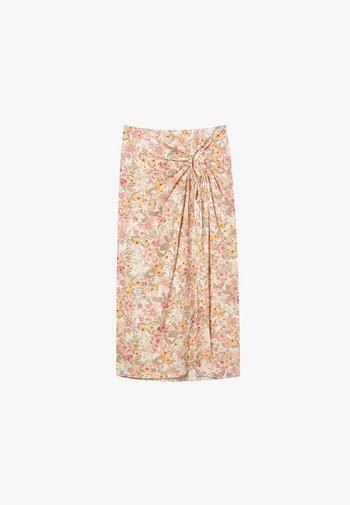 RUSTIKALER MIT BLUMENPRINT - A-line skirt - white