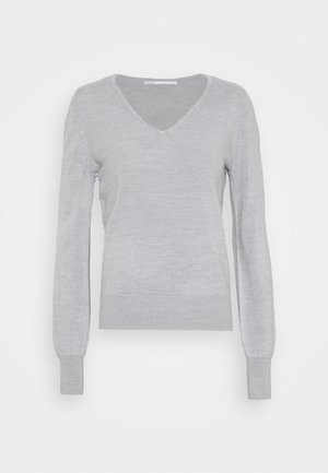 ONLAMALIA V-NECK SLIM - Jumper - light grey melange