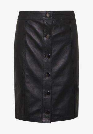 ANGIE SKIRT - Kožená sukně - black