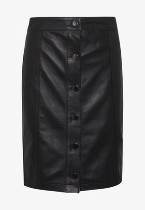 ANGIE SKIRT - Falda de cuero - black