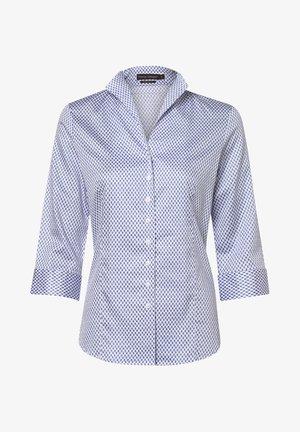 Button-down blouse - indigo/weiß