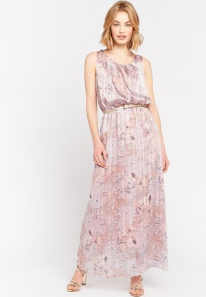 WITH FLOWERS AND BELT - Maxi dress - nude