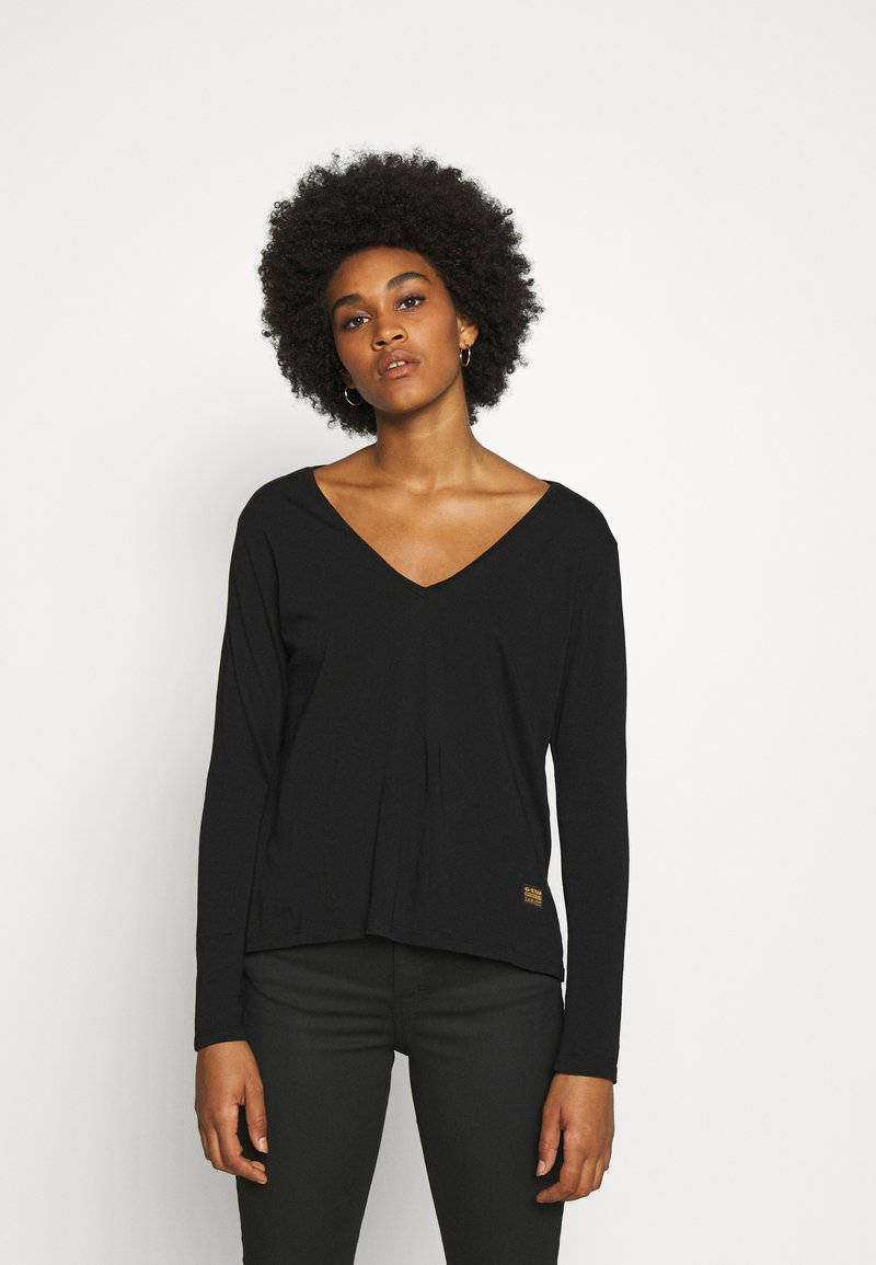 G-Star - CORE STRAIGHT V T WMN L\S - Long sleeved top - dark black