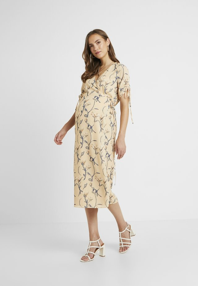 MIDI V NECK WRAP FLORAL DRESS - Day dress - ochre grey