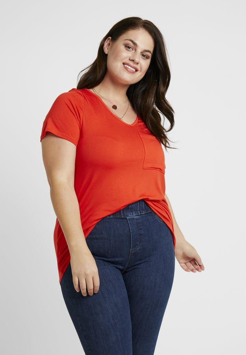 Dorothy Perkins Curve - V POCKET TEE - T-shirts - orange