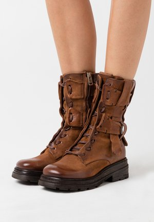 Platform ankle boots - calvados