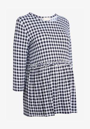 GINGHAM SMOCK - Long sleeved top - dark blue