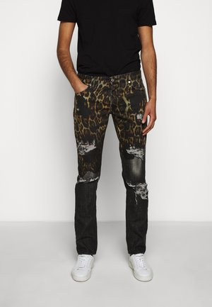PANTS POCKETS LEOPARD PRINT - Džíny Slim Fit - black