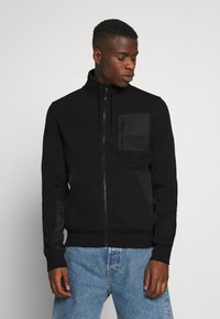 Calvin Klein Jeans - MIXED MEDIA FASHION ZIP UP - Zip-up hoodie - black - 0